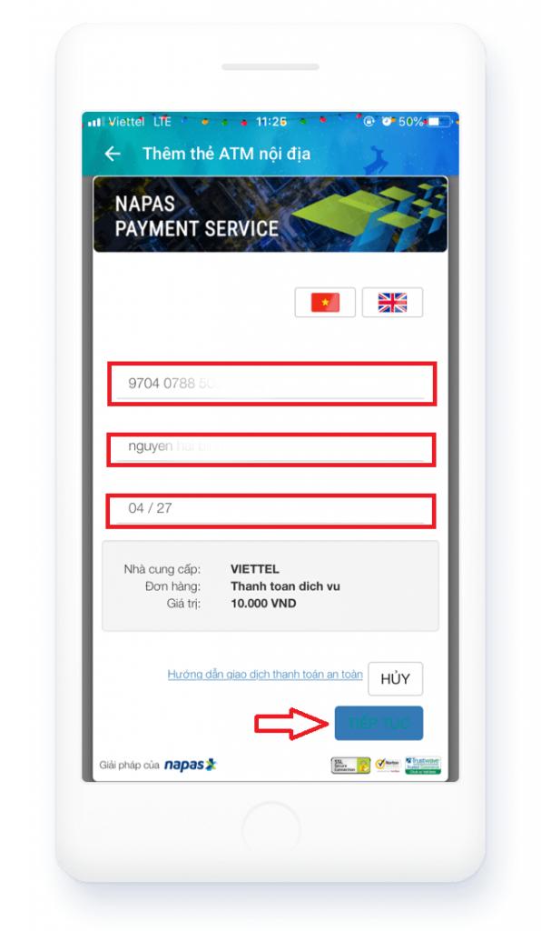 Nhập thông tin thẻ ngân hàng