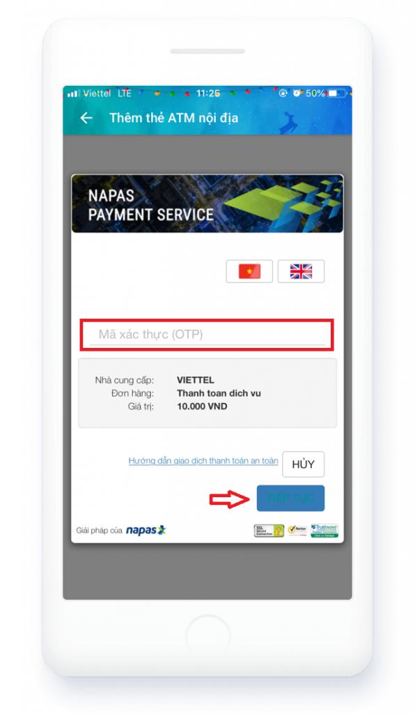 Nhập mã xác thực OTP để liên kết thẻ