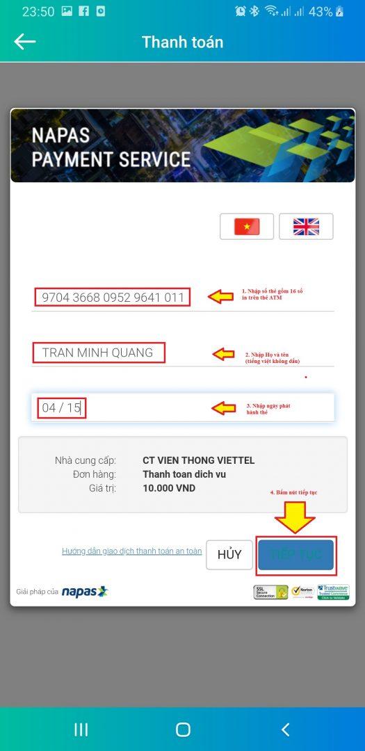 Bước 5: Nhập thông tin tài khoản VietcomBank trên thẻ ATM
