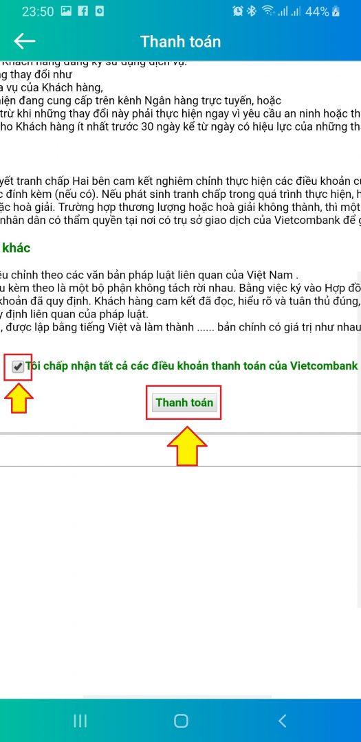 Nhập mã xác thực xong bấm chấp nhậ thanh toán trên màn hình thanh toán của VietcomBank