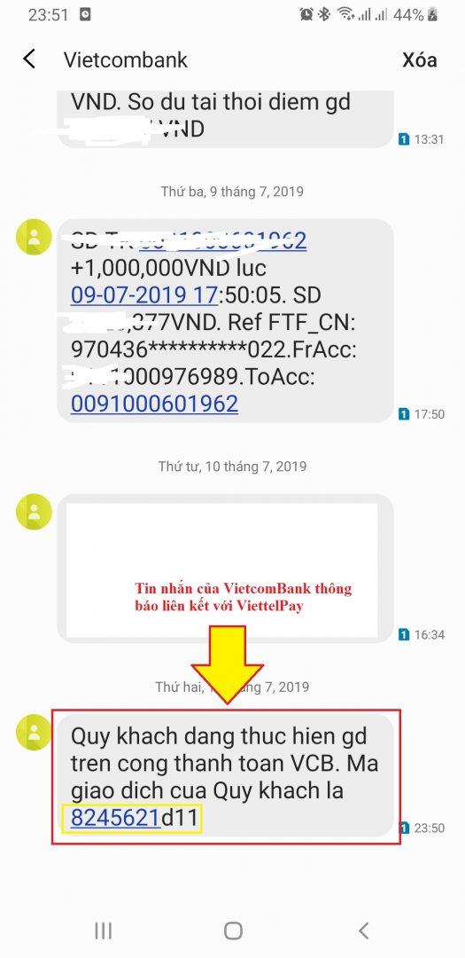Tin nhắn của VietcomBank xác nhận liên kết ViettelPay
