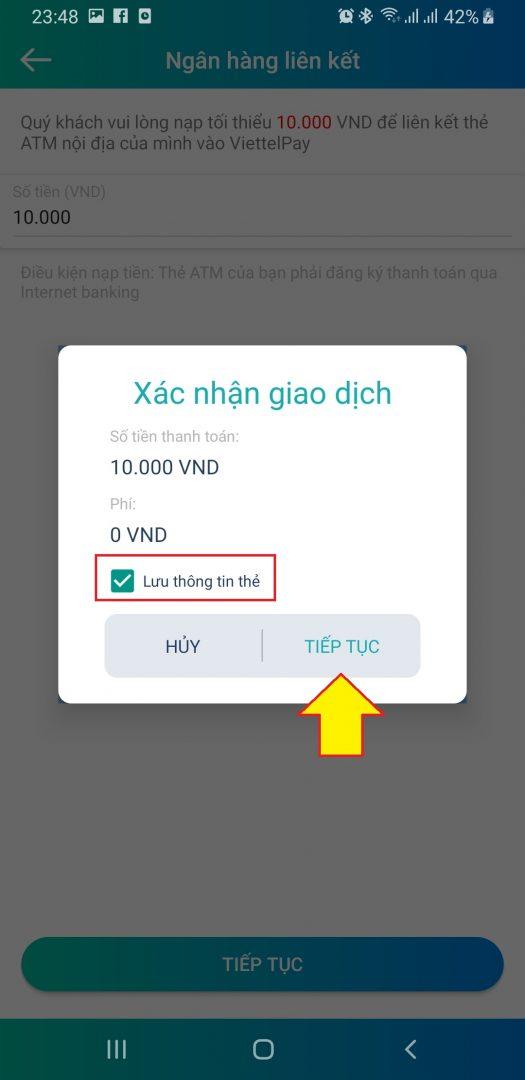Xác nhận chuyển tiền từ VietcomBank sang ViettelPay liên kết tài khoản