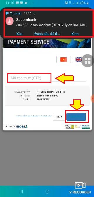 Nhập mã xác thực OTP để hoàn tất liên kết thẻ Sacombank