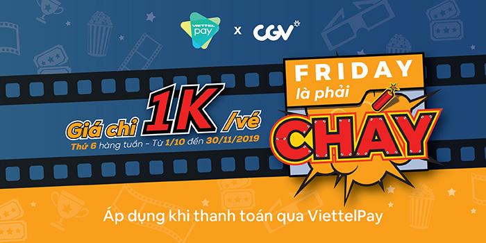 mua vé xem phim CGV chỉ 1k trên ViettelPay