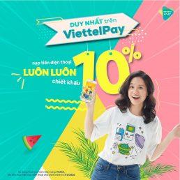 Chiết khấu 10% khi nạp tiền điện thoại Viettel