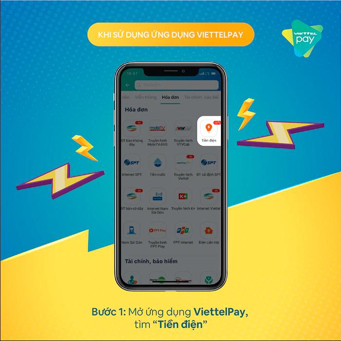 Bước 1: Mở ứng dụng ViettelPay, tìm Tiền điện